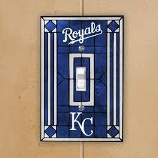 kansas city royals royal blue art glass switch plate cover