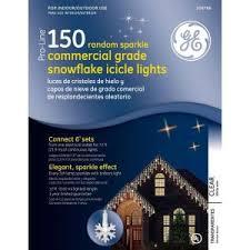 Ge 150 Light Random Sparkle Snowflake Icicle Set Clear Lights