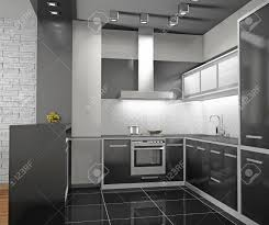 interior of modern kitchen 3d stock photo picture and royalty