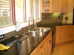 tile and glass backsplash modern kitchen with glass tile by