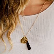 monogrammed gold necklace gold mirror acrylic tassel necklace with gold plated chain monogram