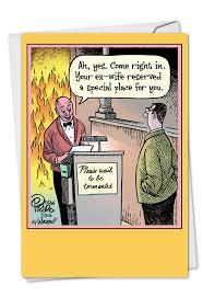 Congrats On Your Divorce Card Hell Reservation Cartoons Divorce Greeting Card Bizarro By Dan Piraro