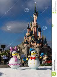 disneyland paris castle with christmas decorations editorial stock