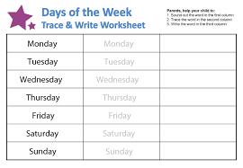 days of the week printable worksheets worksheets