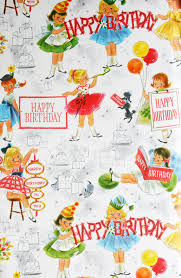 vintage gift wrapping paper happy birthday girls by ohhazelvintage