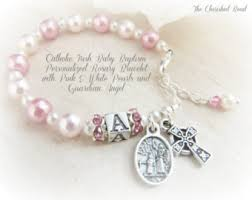baby rosary baptism rosary personalized name october baby white opal