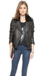 winter biker jacket current elliott the shearling prospect biker jacket shopbop