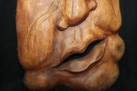 abstract wood abstract mask wood carving bali wall decor acadia world