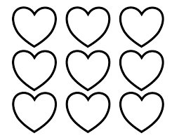 valentines day hearts in rows and columns coloring page kids