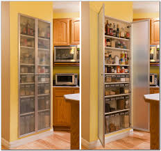 Storage Cabinets Kitchen Pantry Kitchen White Corner Kitchen Pantry With Gray Frosted Glass