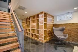 transitional basement features custom wall storage unit sawhorse