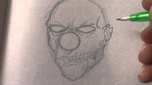 how to draw a zombie clown head youtube