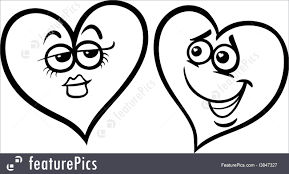 holidays hearts in love cartoon coloring page stock