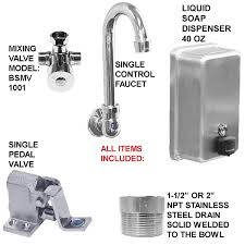 mixing valve for hand sink hand sink 3 station 60 single pedal valve action with columns made