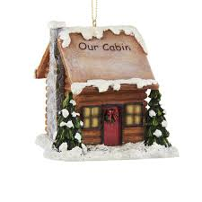 pack of 6 woodland log cabin with led light ornaments 3