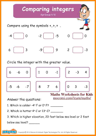 Add Subtract Integers Worksheet 10 Comparing Integers Worksheet Math Cover