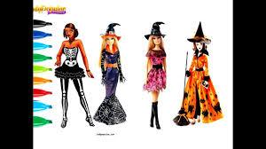 draw barbie halloween costumes coloring kiddie toys