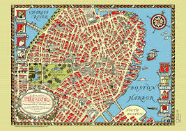Map Of Boston by Boston Downtown 1920 Map Poster Vintage Charles River North
