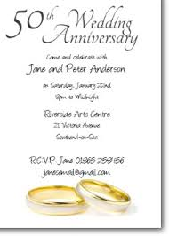 50th wedding anniversary greetings 50th anniversary invitations golden wedding invites