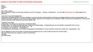 Roofing Job Description Resume by Roofing Supervisor Offer Letter