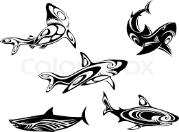 Tattoos In - set of shark tattoos in tribal style isolated on white background