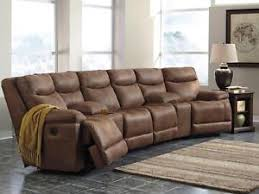 faux leather reclining sofa woodland brown faux leather reclining sofa couch home theater