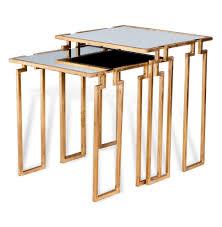 Hollywood Regency Hollywood Regency Antique Gold Leaf Mirror Nesting Side Tables