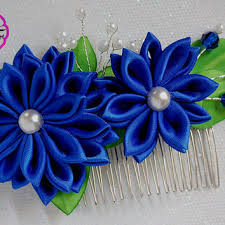 ribbon flowers kanzashi flower blue ribbon flower from rainofflowers on etsy