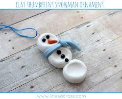 lines across clay thumbprint snowman ornament handmade christmas