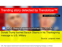 donald bashed barack obama in his thanksgiving message to u s