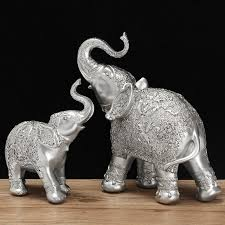 elephant statue fashion 2pcs set silver polyresin ornate elephant statue lucky