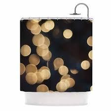 Kess Shower Curtains Kess Inhouse Cristina Mitchell Blurred Lights Black Gold Shower