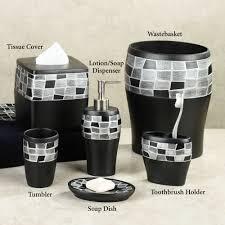 White Bathroom Accessories Set by Black Mosaic Stone Resin Bath Accessories