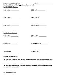and dividing decimals worksheets word problems 5 nbt 7