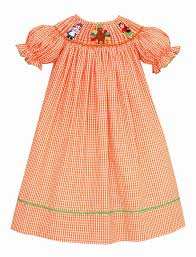 baby toddler orange check smocked