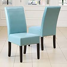 Teal Dining Room Chairs Teal Bonded Leather Dining Chair Set Of 2