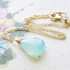 turquoise gold chain necklace images Aqua chalcedony necklace chalcedony pendant mint jewelry jpg