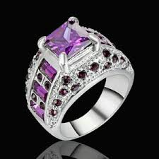 amethyst engagement rings 5 80 ct purple amethyst engagement ring size 8 10kt silver gold