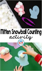 mitten snowball counting activity a dab of glue will do