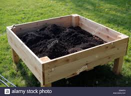 square raised planter box with soil stock photo royalty free