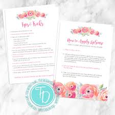 Invitation Card Application Lipsense Tips Card Printable Lipsense Application Card