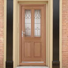 Double Glazed Wooden Front Doors by Derby Chameleon Oak Door With Bevel Style Tri Glazing