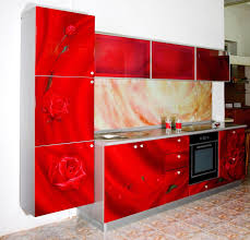 ultra modern glossy red rose and silver paint wooden galley f