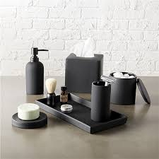 rubber coated black bath accessories cb2