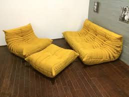 yellow alcantara togo sofa set by michel ducaroy for ligne roset