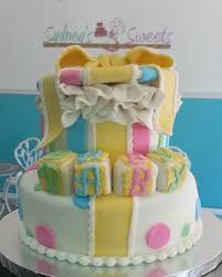 gender neutral gift box baby shower cake