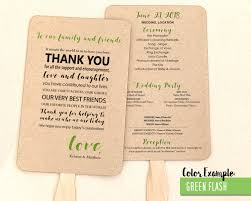 program fans for wedding thank you message wedding program fan cool colors
