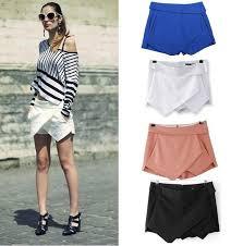 women s skirts 4 colors womens tiered shorts irregular zipper trousers culottes
