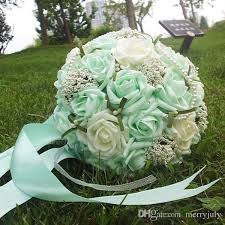 Mint Green Corsage 2017 Mint Green Pearls Wedding Bouquets With Wrist Corsage Gift