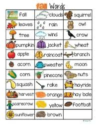 this is a concise page of words that can be used with a fall theme